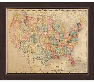 Three Posts 'Colored Map Of The United States' Framed Graphic Art Print on Canvas