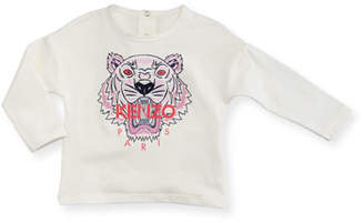 Kenzo Long-Sleeve Tiger Tee, Off White, Size 12-18 Months
