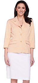 Joan Rivers Classics Collection Joan Rivers Ponte Knit Striped Blazer with3/4 Sleeves
