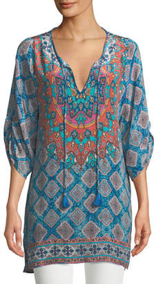 Tolani Colby Graphic-Print Silk Tunic, Plus Size
