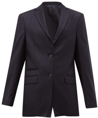 Officine Generale Charlene Single Breasted Pindot Wool Blazer - Womens - Navy