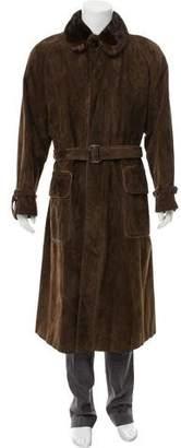 Valentino Fur-Trimmed Suede Coat