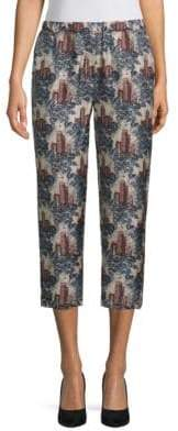Burberry Printed Silk Cropped Pants