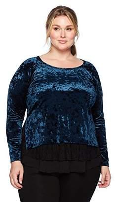 Karen Kane Women's Plus Size Velvet Lace Inset Top