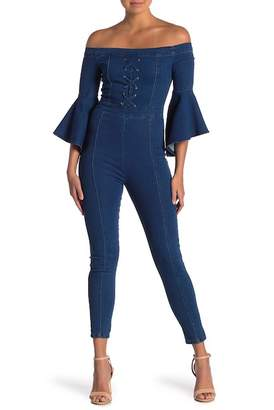 A.Calin Off-the-Shoulder Bell Sleeve Denim Jumpsuit