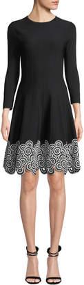Lela Rose Crewneck Long-Sleeve Fit-and-Flare Dress w/Circle Lace Hem