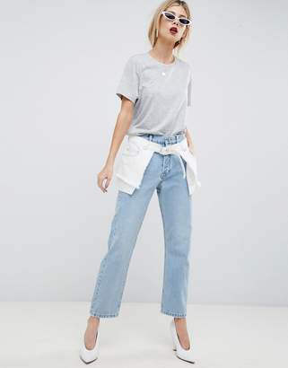 Asos (エイソス) - ASOS DESIGN Florence Authentic Straight Leg Jeans With Deconstructed Overlay