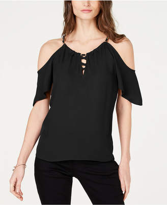 17c691fad3b527 INC International Concepts Black Cold Shoulder Women s Tops - ShopStyle