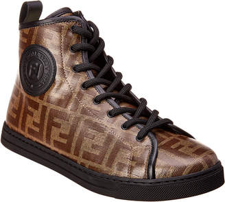 Fendi Zucca Canvas & Leather High-Top Sneaker
