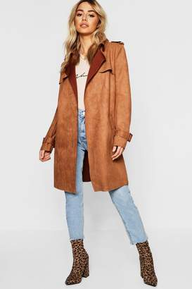 boohoo Petite Suedette Belted Trench Coat