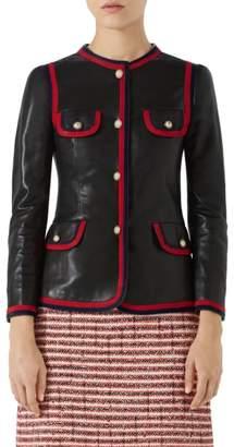 Gucci Ribbon Trim Nappa Leather Jacket