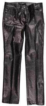 Dolce & Gabbana Metallic Low-Rise Straight-Leg Pants Silver Metallic Low-Rise Straight-Leg Pants
