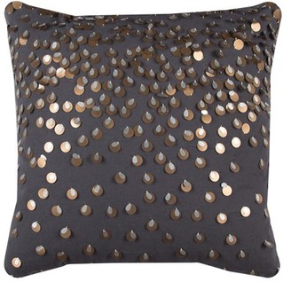 """Rizzy Home Decorative Poly Filled Throw Pillow Sequin 20""""X20"""" Dark Grey"""