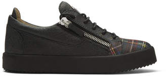 Giuseppe Zanotti Black and Multicolor Plaid Low-Top Sneakers
