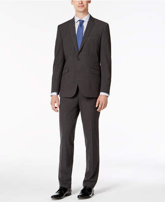 Kenneth Cole Reaction Men's Slim-Fit Techni-Cole Stretch Charcoal Micro-Grid Big and Tall Suit