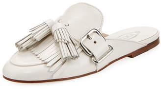 Tassel Fringe Leather Mule Slide
