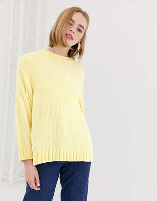 Monki textured crew neck sweater in light yellow