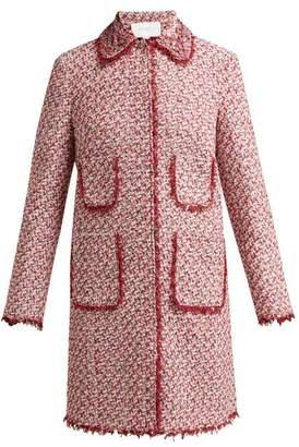 Giambattista Valli Floral Embellished Single Breasted Tweed Coat - Womens - Burgundy Multi