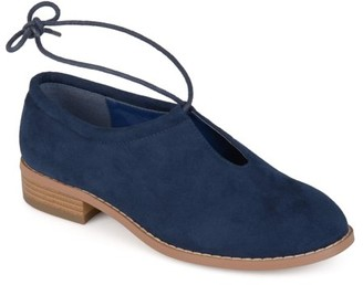 Brinley Co. Women's Faux Suede Ankle Lace-up Cut-out Round Toe Flats