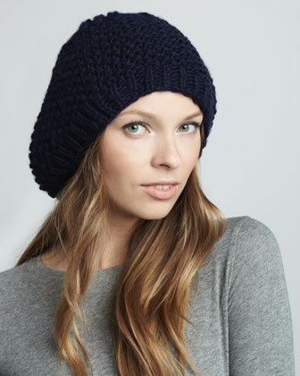 Hat Attack Knit Beret, Navy