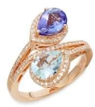 Effy Tanzanite, Aquamarine, 0.34 TCW Diamond & 14K Rose Gold Ring