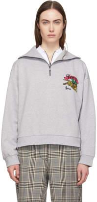 Kenzo Grey Bamboo Tiger Zip Sweatshirt