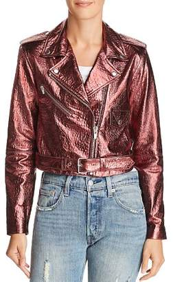 Veda Baby Jane Metallic Leather Moto Jacket