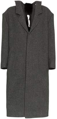 Shushu/Tong Mid Length Faux Fur Embellished Wool Coat
