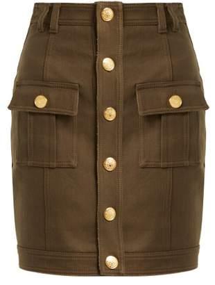 Balmain High Rise Denim Mini Skirt - Womens - Khaki