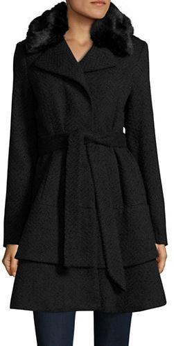 Betsey JohnsonBetsey Johnson Faux Fur-Trimmed Belted Flared Coat