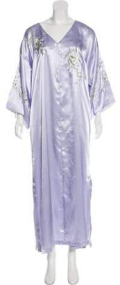 Oscar de la Renta Embroidered Satin Nightgown Embroidered Satin Nightgown