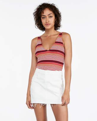 Express Mid Rise Ripped Straight Denim Mini Skirt