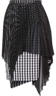 Facetasm Layered Plissé Organza And Gingham Poplin Skirt