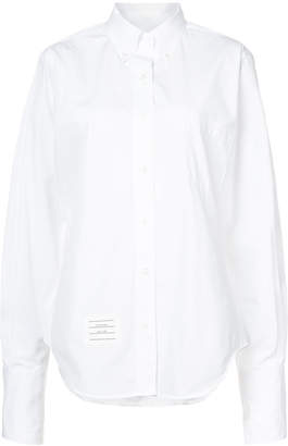 Thom Browne Oversized Long Sleeve Button Down Point Collar Shirt With Tumbholes & 'Too Cold' Icon Applique On Egyptian Cotton Poplin