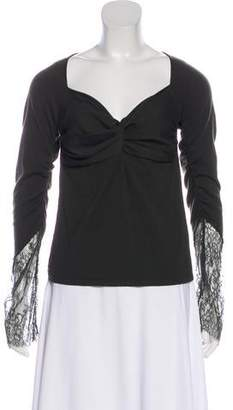 Valentino Lace-Trimmed Wool Top