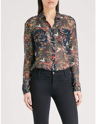 The Kooples Floral-print silk-muslin shirt