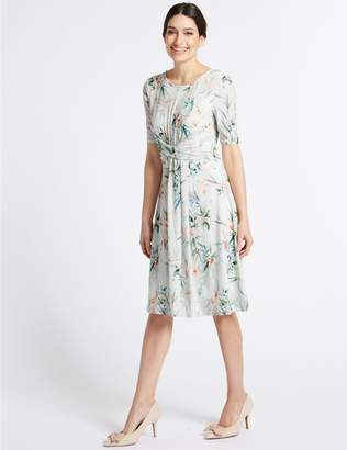 Marks and Spencer Floral Print Twisted Detail Swing Dress