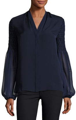 Elie Tahari Georgia Smocked Long-Sleeve Silk Blouse $298 thestylecure.com