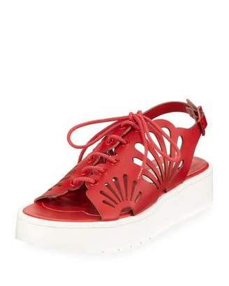 Stella McCartney Flores Lace-Up Platform Sneakers w/ Floral Cutouts, Toddler/Kid