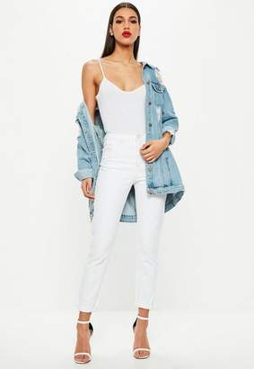 Missguided White High Rise Pink Stitch Mom Jeans
