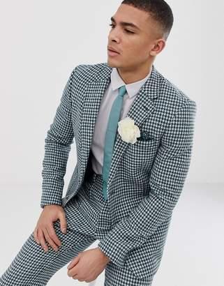 Asos Design DESIGN slim Harris Tweed suit jacket in teal and white houndstooth