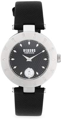 Versace Logo Stainless Steel & Leather-Strap Watch