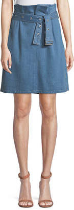 J Brand Tranquil Pleated Belted Denim Skirt
