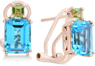 Effy Blue Topaz (3-9/10 ct. t.w.) & Peridot (3/8 ct. t.w.) Drop Earrings in 14k Rose Gold