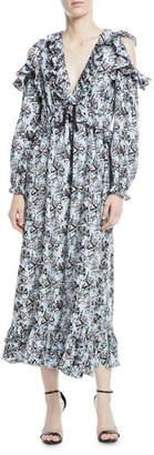 Robert Rodriguez Orchid-Print V-Neck Silk Ruffled Maxi Dress