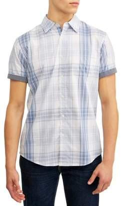 Lee Men's Short Sleeve Pastel Plaid Woven Button Down