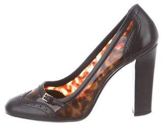 Burberry Leather-Trimmed Tortoiseshell Pumps
