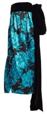 Marc Jacobs Silk Strapless Velvet Bow Gown