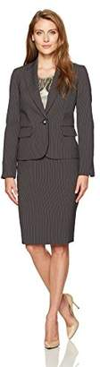 Le Suit Women's Pinstripe 1 Button Notch Lapel Skirt Suit with Cami