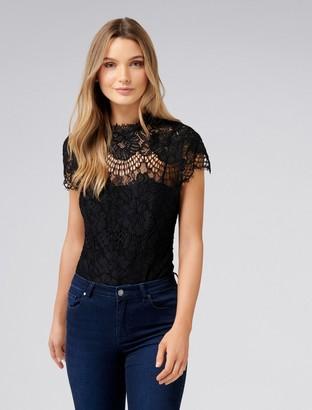 e5ff2e2ff8 Forever New Almira Lace Scallop Sleeve Bodysuit - Black. - xxs